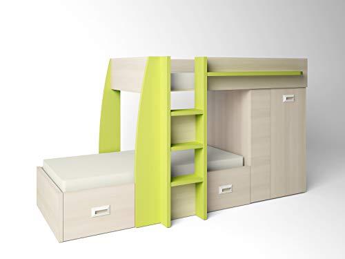 ambiato Etagenbett Natur + Grün 2 Betten mit Leiter und XXL Kleiderschrank inkl. Schubladen Hochbett Kinderbett Stockbett