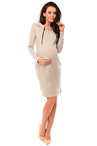 Purpless Maternity Umstands Schwangerschaft und Pflege Kapuzen Kleid Tunika mit Taschen 6211 (36, Light Gray Melange) (Zip Front Kapuzen-strickjacke)