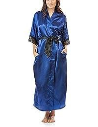 Pragmaticv Encaje de Verano Patchwork Satén Kimono Bata Ropa de Dormir Lencería Chemises Mujeres Seda camisón