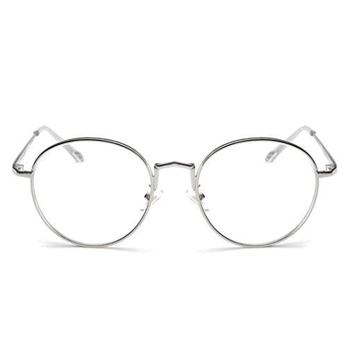 Sharplace Klassische Brille Brillenfassung Dekogläser Metallrahmen Nerdbrille - Silber, one size