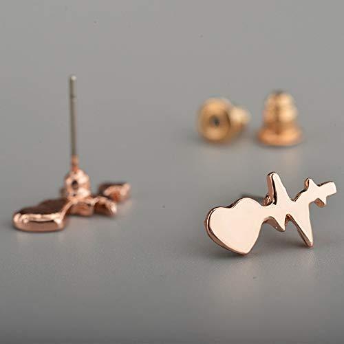 creatspaceDE EKG-Ohrringe Herzschlag aktuelle Form Ohrringe Blitz Damen Geschenk Schmuck Farbe: Roségold 5x14mm
