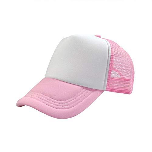BQMLKF Herren-Baseballmütze Männer Verstellbare Baseballmütze Mesh Plain Color Cap Trucker-Mütze Blank Curved Hat, Pink Blank Trucker Hats