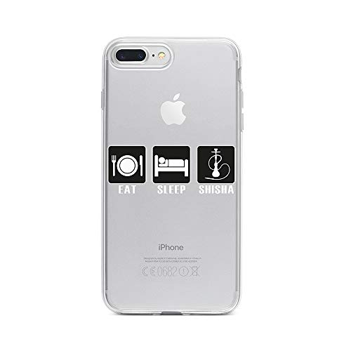 licaso Apple iPhone 7 Plus Handyhülle Smartphone Apple Case aus TPU mit Eat, Sleep, Shisha Print Motiv Slim Design Transparent Cover Schutz Hülle Protector Soft Aufdruck Lustig Funny Druck