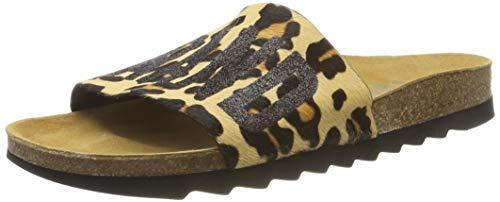 Bio-leopard (The White Brand Damen Bio Leopard Peeptoe Sandalen, Mehrfarbig, 39 EU)