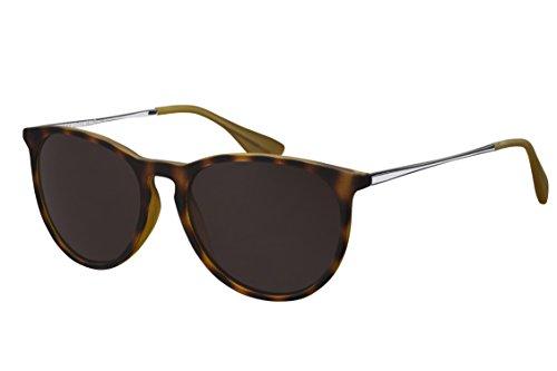 Sonnenbrille La Optica UV 400 Schutz Unisex Damen Herren Vintage Rund Round - Horn Havana Gummiert (Gläser: Braun)