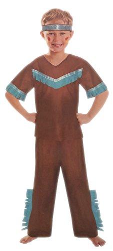 Brandsseller Jungen Kostüm Verkleidung Fasching Karneval Party - Indianer M (7-10 Jahren)