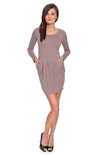 Futuro Fashion Subtil Femmes robe Mini de fête avec Manches Longues Tissu Coton Tunique Tulipe Tailles 8-18 UK FT2521 Cappuccino