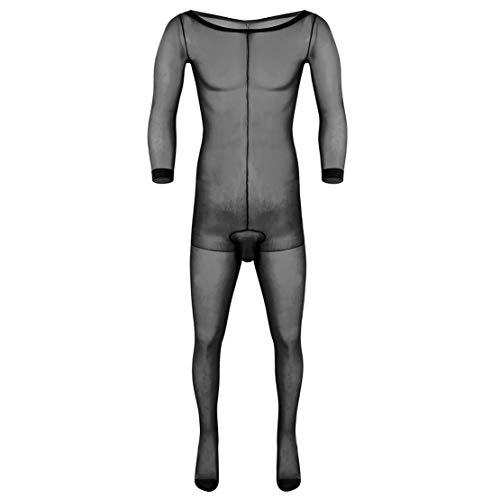 ACSUSS Herren Strumpfhose aus Nylon, durchsichtig, mit Fuß - Schwarz - Einheitsgröße -