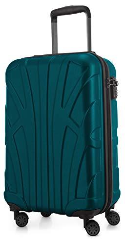 Suitline Handgepäck Hartschalen-Koffer Koffer Trolley Rollkoffer Reisekoffer, TSA, 55 cm, ca. 34 Liter, 100% ABS Matt, Aquagrün