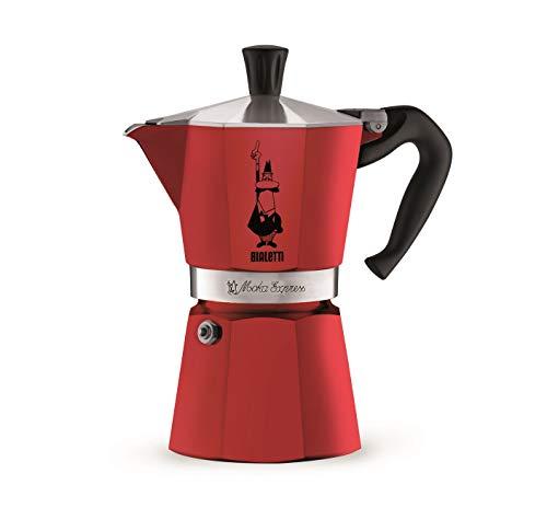 Bialetti 4943 MOKA COLORS Espressokocher, Aluminium, rot