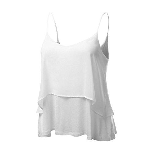 MRULIC Damen T-Shirt Armelloses Top Frauen Verstellbare Schultergurte Runden Hals Leibchen Crop Top (EU-42/CN-L, Weiß2)