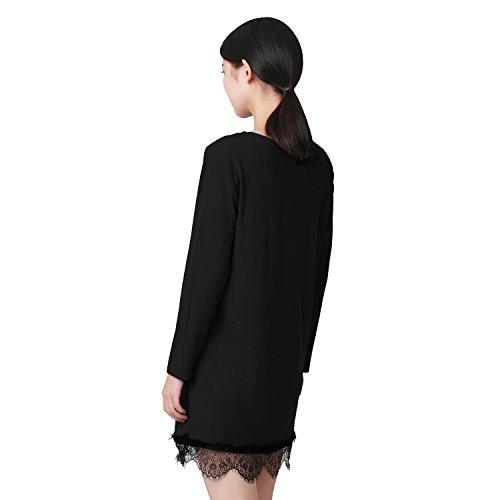 LAEMILIA Femmes Robe Mini Hauts T-shirts Dentelle Couture Veste Chemise Manches Longues Col Rond Casual Tees Noir