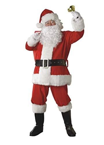 Santa Anzug Erwachsene Kostüm Männer Weihnachten Claus Rot Kleid-10Pc,Style1