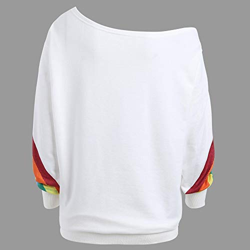 XNBZW Tops Womens Blouse Sweatshirt Casual Long Sleeve Rainbow Print Off Shoulder Shirt Pullover Jumpers Chirstmas - Sleeveless Woven Pullover