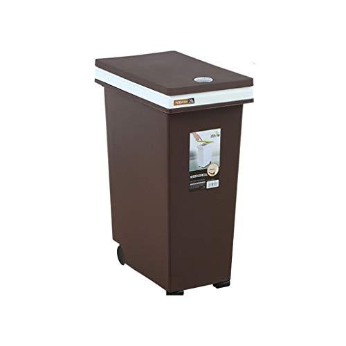 Jiji Platz Mülleimer Papierkorb Schlafzimmer Wohnheim Büro Küche Bad Kunststoff Mülleimer mit Deckel Räder (Color : Brown, Größe : 20l) -