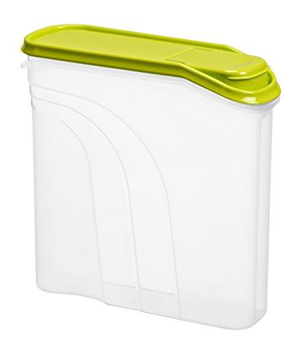 """Rotho 1723105070 Müslidose """"Fresh"""" mit Deckel und Verschlussklappe zum Schütten, Plastik, transparent / grün, 22 x 7.5 x 21.5 cm Test"""