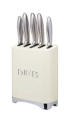KitchenCraft Lovello Retro 5-Piece Stainless Steel Knife Set and Knife Block – Vanilla Cream