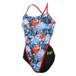 MP Michael Phelps Girls Flower Openback Swimsuit