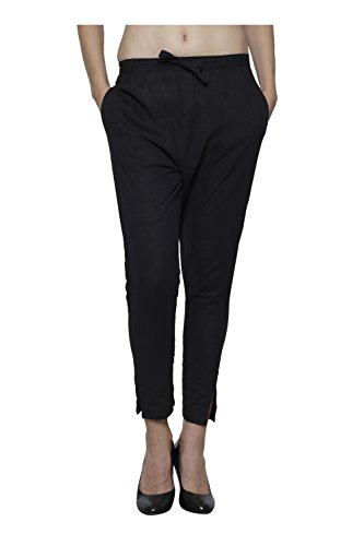 Pistaa Women`s Cotton Slub Black Color Best Solid Readymade Regular Fit Ethnic Cigratte Pant Bottom