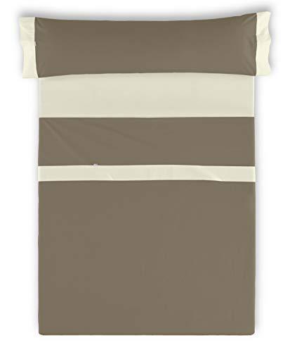 ESTELA - Juego de sábanas Lisos con Aplique Color Visón-Marfil 3 Piezas - Cama de 135/140 cm. ...