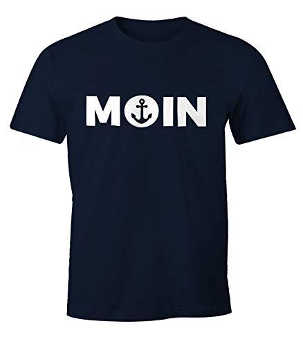 MoonWorks Cooles Herren T-Shirt Moin mit Anker Shirt Navy M