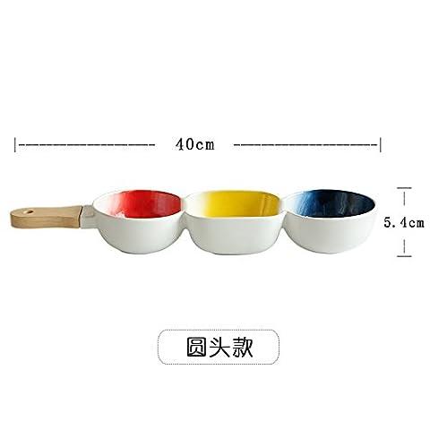Saladiers de service bols en céramique Bol avec poignée Bol de salade de fruits