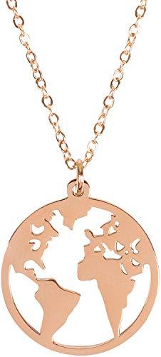 styleBREAKER Damen Edelstahl Kette mit rundem Weltkarte Amulett Anhängern, Halskette, Ankerkette, Schmuck 05030059, Farbe:Rosegold