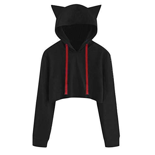TianWlio Hoodie Pullover Damen Sweatshirt Langarmshirt Bluse Kapuzenpullover Frauen Katze Long Sleeve Hoodie Sweatshirt mit Kapuze Pullover Kurze Tops Bluse