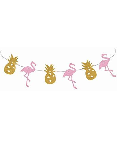 Express Novelties Online Pink Glitter Flamingo und Gold Glitzer Ananas Hawaii Party Girlande Band Banner-Tropical Tiki Sommer Pool Party Dekorationen Supplies-7Füße Länge kein DIY erforderlich -
