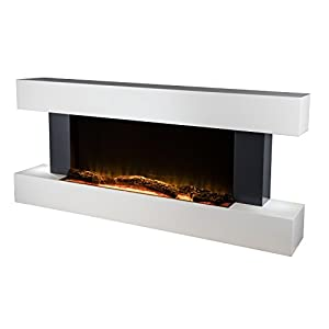 Warmlite WL45033 Wall Mounted Surround Fireplace Suite with Realistic LED Flame Effect, 2000 W, White