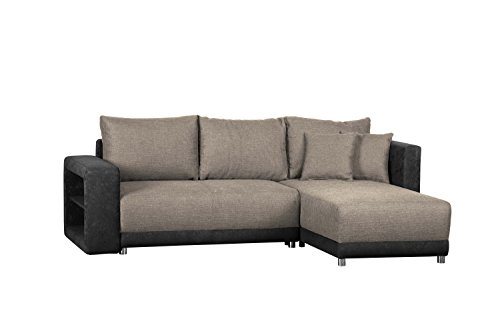 Wohnlandschaft L Form, ohne Federkern / Sofa mit Schlaffunktion und Bettkasten / Mit Struktursstoff und Microfaser in Grau / Mit Ottomane links oder rechts...