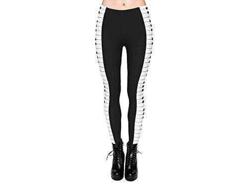 Leggings Damen Bedruckt Sexy Leggins Ladies mit Print Look Motiv Muster Stretch Legins Hose von Alsino, Variante wählen:LEG-005 Klavier