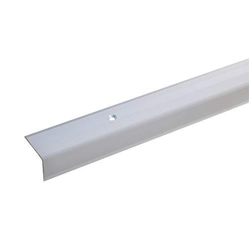 acerto 51058 Aluminium Treppenwinkel-Profil - 135cm, 22x30mm, silber * Rutschhemmend * Robust * Leichte Montage   Treppenkanten-Profil, Treppenstufen-Profil aus Alu   Gelochtes Stufenkanten-Profil