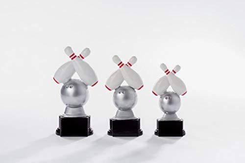 Henecka Bowling-Pokal, Resinfigur Bowling, Silber mit Weiss und rot, mit Wunschgravur, Größe 16 cm