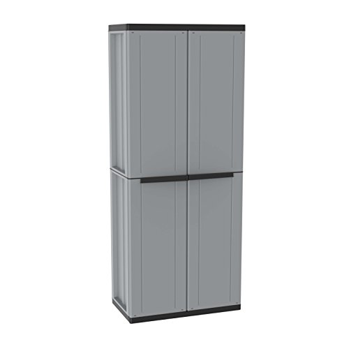 Terry, JLINE 368, 2-door cabinet with 4 tier shelf. Color: Grey/Black,68 X 37.5 X 163.5 Cm