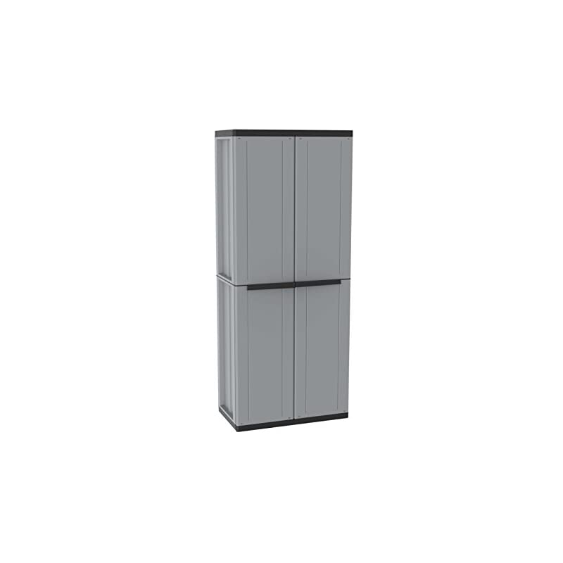 Terry, Jline 368, 2 Door Cabinet with 1 Internal Shelving and 4 Shelves. Color: Gray, Material: Plastic, Dimensions…