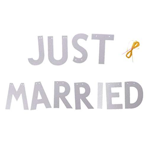 GROOMY Mutterschaft Just Married Glitter Banner Girlande Hochzeit Party Dekoration 3M - Silber