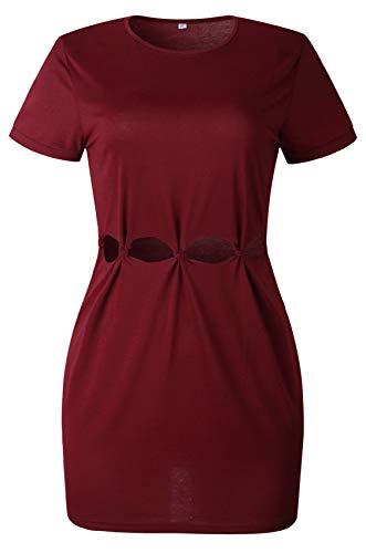 Kurzarm Aushöhlen Ausschnitt Bindung Vorne Baumwolle Midikleid Bodycon Etui Etuikleid Figurbetontes T-Shirt Kleid Burgund M -