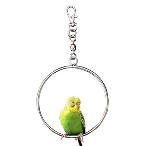 Liuyu · Lebenshaus Spielzeug-Schwingen-Papageien-Edelstahl-hängender Ring-Vogelkäfig-Zubehör ( Farbe : A , größe : Große )