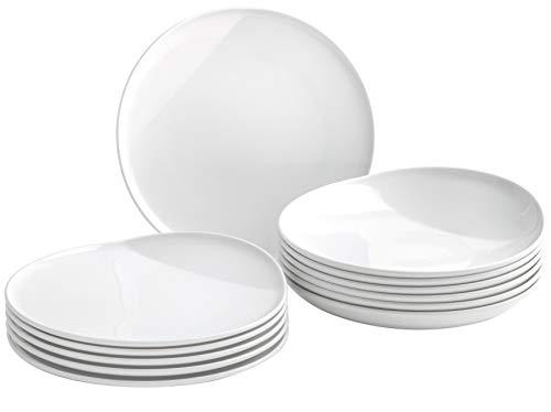 Kahla 02F251A90002C O - The Better Place Porzellan Geschirrset für 6 Personen Tellerset weiß rund 12-teilig Teller Suppenteller Tafelservice Porzellanteller Set (Weiß China Teller-set Von 12)