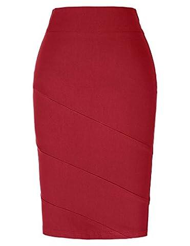 Damen Retro Paket Hüfte Hohe Taille Business Casual Bleistift Rock Rot Größe S KK269-3