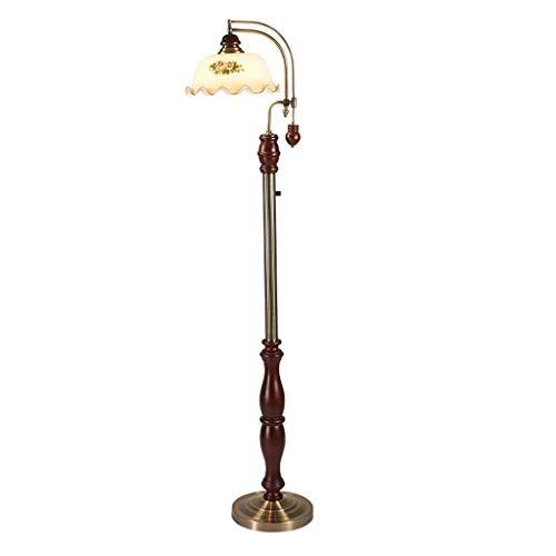 Glas Traditionellen Schatten (DJSMLDD Stehlampe 155 cm Rustikales Sofa Wohnzimmer Standard Lampe Traditionelle Klassische Studie Beleuchtungskörper Glas Schatten Auge pflegendes Licht)