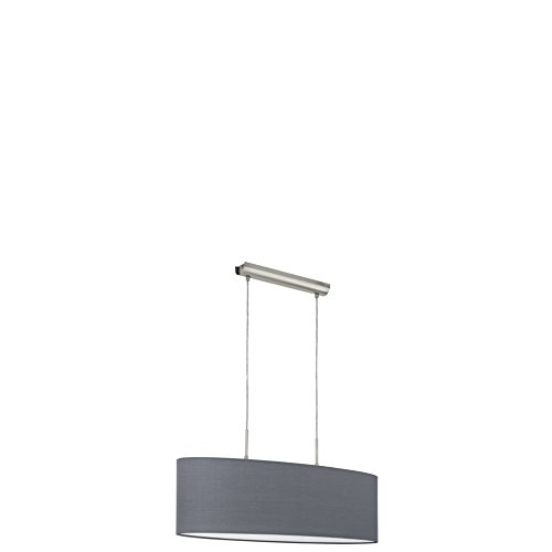 EGLO 31582 A++ to E, Hängeleuchte, Stahl, E27, Nickel-matt/Grau, 75 x 22 x 110 cm (Esstisch Serie)