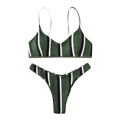 ZWXIN Halfter Gestreifte Bikini Set Zweiteiler, Frauen Gepolsterter Badeanzug Monokini Push Up Bikini Sets Bademode