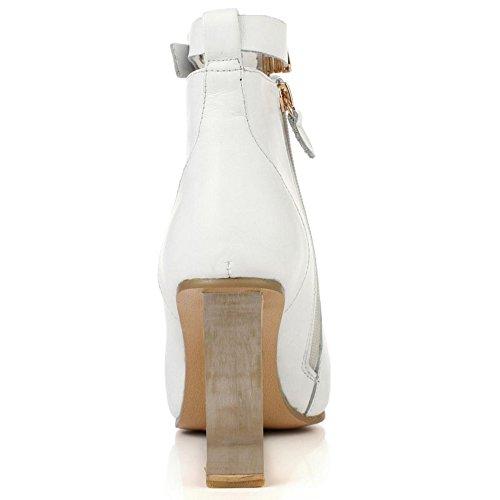 TAOFFEN Damen Mode Transparent Keilabsatz Kurze Stiefel Reißverschluss Knoechel Stiefel Weiß