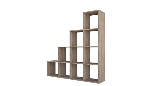 Polini Home Treppenregal Stufenregal Raumteiler Bücherregal Regal Eiche 10 Fach (Home-regale)