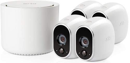 Arlo HD Smart Home 4 HD-Überwachungskameras und Sicherheitssystem (100% kabellos, Indoor/Outdoor, WLAN, Bewegungsmelder, Nachtsicht) weiß, VMS3430 -