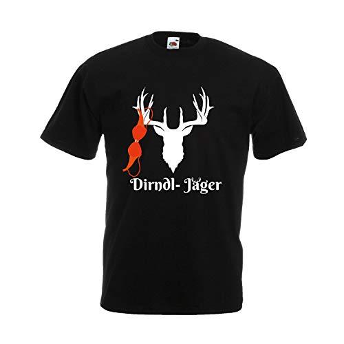 Oktoberfest T-Shirt Herren mit Motiv - Dirndl-Jäger - Tracht Männer Schwarz (Druck Weiß) XXXL