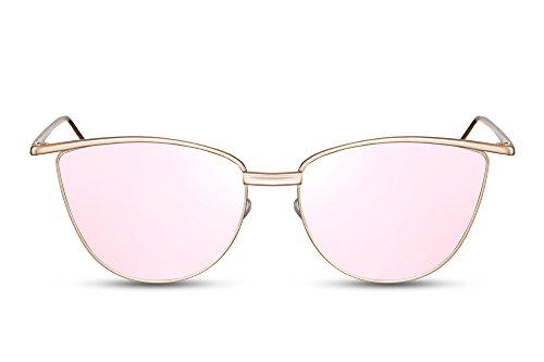 Cheapass Sonnenbrille Cat-Eye Rosé-Gold Verspiegelt Designer-Brille UV400 Metall Damen Frauen Mädchen (Designer-sonnenbrillen Cat Eye)