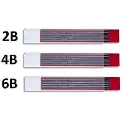 Koh-i-noor 4190 - Set de Minas de grafito 2 mm, 2B, 4B, 6B